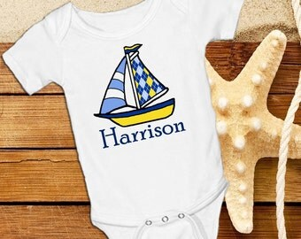 Sailboat Blue and Yellow Personalized White Unisex onsie Snap bottom all in one bodysuit