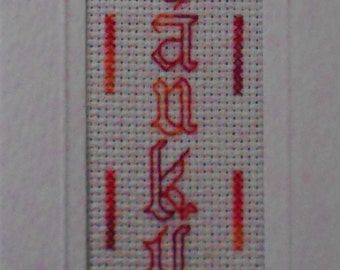 Thank you Card Bookmark Style Unusual Old English Script