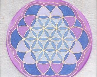 "Flower of life mandala, Silk painting, No 0142 6"" Ø diametre"