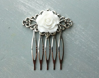 White Resin Rose and silver filigree hair comb. No H37