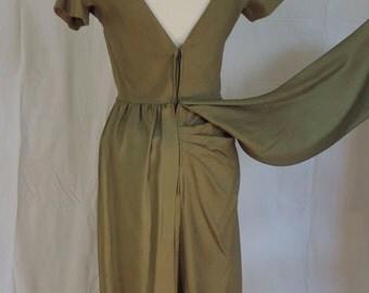 Vintage olive green wiggle dress