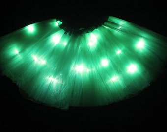 Adult Emerald Green LED Light up Tutu Skirt with Batteries Fits Women XS to XL
