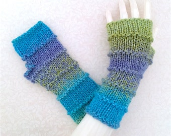 Spring Fresh Knit Fingerless Gloves, Fingerless Hand Warmers, Fingerless Mitts_Spring Color Medley_Purled Bands, FG-PB102