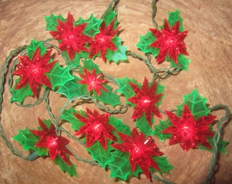 SALE 2 Strands Vintage Holly Poinsettia Christmas Tree Lights