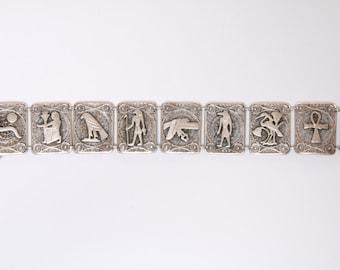 Art Deco Egyptian revival hieroglyphics bracelet / Egyptian bracelet / amulet bracelet / sterling silver bracelet / ancient Egyptians