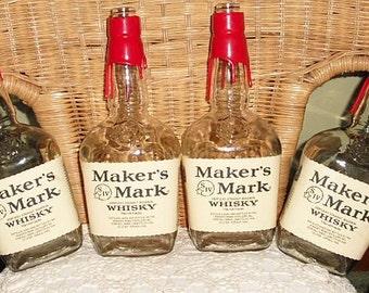 4 MAKER'S MARK WHISKEY Kentucky Straight Bourbon Liter empty recycled liquor bottles for crafts