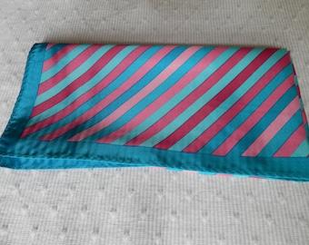 Vintage Headscarf Neck Square Blue Pink 1960s