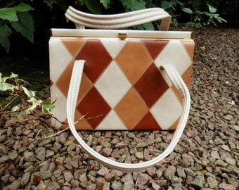 Vintage ELBIEF Kelly Bag Leather Diamonds 3 colours Beige and shades of Brown 2 handles