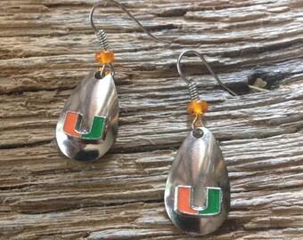 Miami the U earrings:University of Miami fishing lure blade earrings