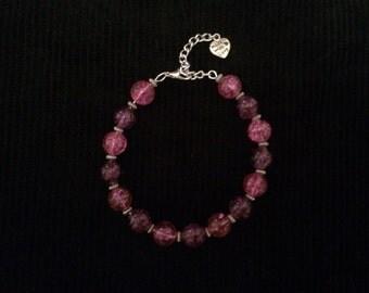 Pink & Violet Beaded Bracelet