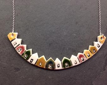 Porcelain beach huts necklace
