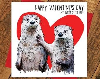Funny Valentines Card Otter half Other Girlfriend boyfriend bear tierliebe  valentinsdag zdravko dwynwen saint st valentine's