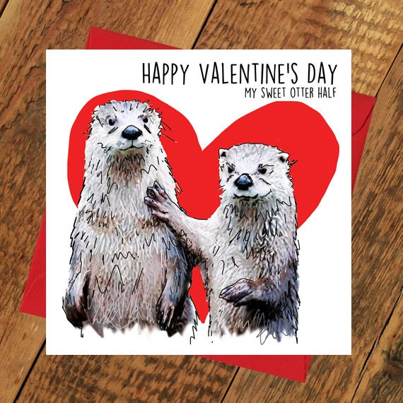 Funny Valentines Card Otter Half Other Girlfriend Boyfriend