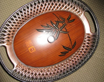 Japanese Lacquerware Oval Bowl & Lid