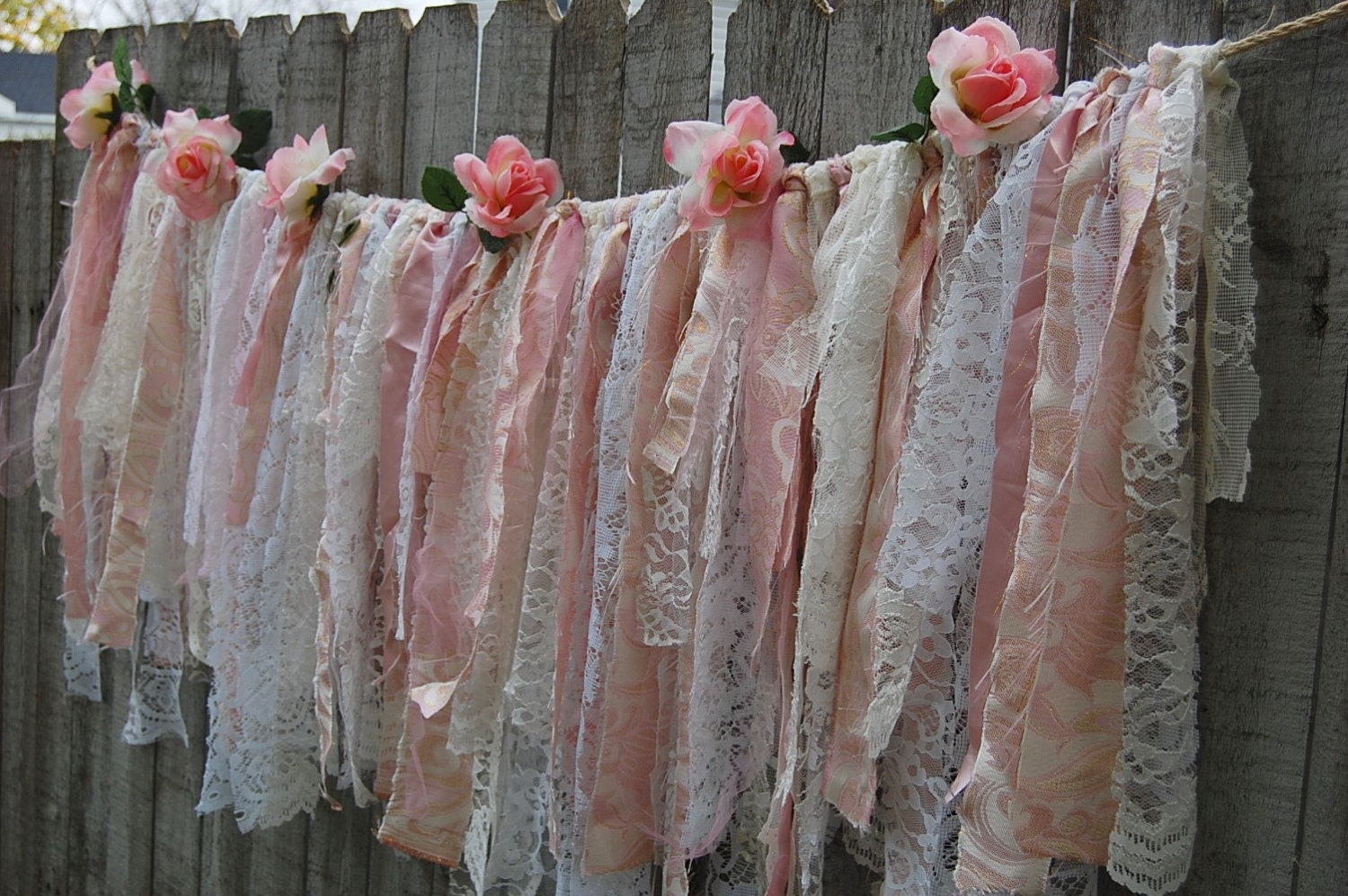 Lace rag garland shabby chic decor boho chic pink gold for Shabby chic garland lights