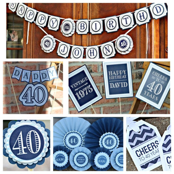 Birthday party decorations. Masculine navy blue and grey 5 piece party ...
