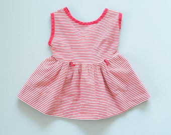2-3T - Vintage 1950s-60s Red and White mini/short Striped Sleeveless Dress with Full Gathered Skirt