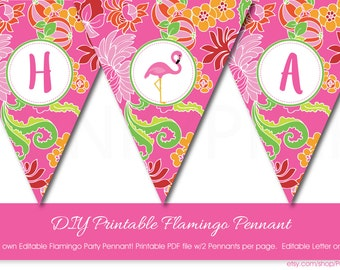 Pink Flamingo Banner with Editable Text, Printable Pink Flamingo Banner, DIY Printable Pink Flamingo Pennant, Printable Flamingo Bunting