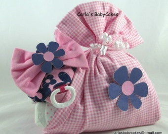 Stork bundle baby | Girl diaper cake | Stork bundle | Pink diaper cake | Baby shower gift | Unique baby gift | Baby diaper cake | Mom to be
