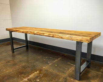 Reclaimed Wood Bench / Live Edge Bench / Industrial H-Shaped Steel Legs