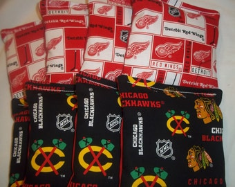 8 ACA Regulation Cornhole Bags - NHL Detroit Redwings and Chicago Blackhawks