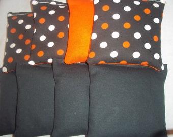 8 ACA Regulation Cornhole Bags - Solid Black & Dots Tennessee Vols Colors