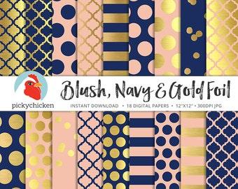 Gold Foil Digital Paper - Gold Navy & Blush, gold dots stripes confetti moroccan trellis faux gold foil photography backdrop 8086
