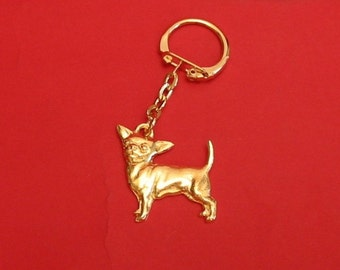 Chihuahua Dog Gold Plated Pewter Motif Key Ring Mothers Day Gift
