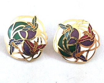 Hummingbirds Cloisonne Post Earrings, Hummingbird White, Green, Purple Enamel on Gold Tone Base, Round Courting Flying Birds Studs, Studs