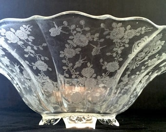 Cambridge Rose Point, 3-Toed Footed Bowl in Rose Point - Clear by Cambridge Large Footed Bowl, Scalloped Edge, Etched Depression Glass