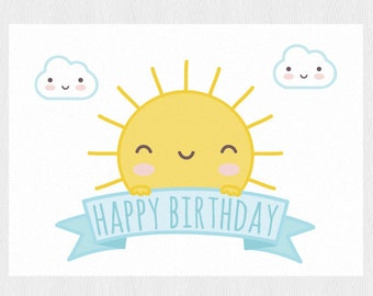 Funny happy birthday card printable PDF DIY Greeting card Happy Birthday with sun and clouds - Printable 6x4 inch