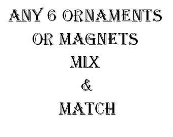 Any 6 Ornaments or Magnets