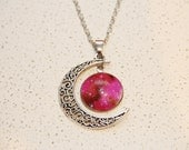 Galactic cosmic moon necklace vintage, glass cabochon yourself, chain necklace jewelry women