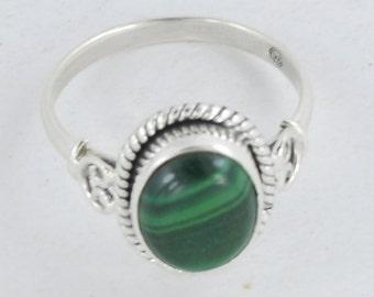 Malachite Ring, Malachite Stone Ring, Silver Ring,Sterling silver,Green Malachite gemstone ring,Handmade Malachite Jewelry Ring 5 6 7 8 9 10