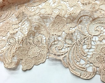 English Lace in Champagne - Lace Fabric with Floral Embroidered Design Throughout - Great For Weddings, Bridal Parties, and Special Events