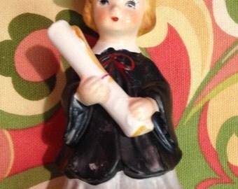 Vintage Lefton Girl Graduate Graduation Figurine