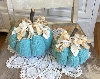 Sweater Pumpkins set of 2 / Aqua Pumpkins / fabric pumpkins / fall decor / rustic farmhouse style