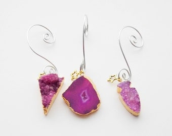 Christmas Ornaments, Druzy Ornaments, 3 Ornaments, Crystal Ornaments, Boho Druzy Ornament, Geode Decor, Geode Ornament