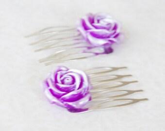 Purple Rose Hair Clips / Lilac Rose Hair Comb Set / Best Friend Gift Set / Violet Rose Hair Slides / Stocking Stuffer / Teenager Gift