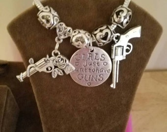 """Girls Just Want To Have Guns"""" Charm Bracelet -our line of Woman with Weapons"""