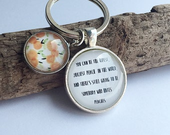 Peach Quote Keyring Feel Good