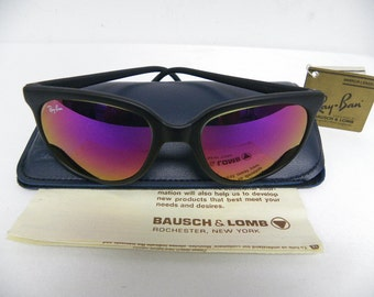 New Vintage B&L Ray Ban Cats 1000 Matte Black G-15 Purple  Mirror  Sunglasses USA NOS