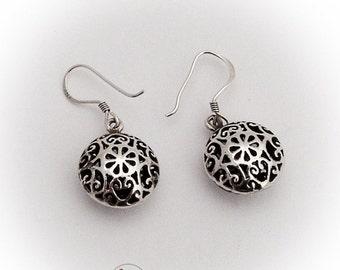 SaLe! sALe! Small Puffy Openwork Dangle Earrings Sterling Silver