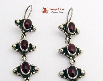 SaLe! sALe! Vintage Ornate Drop Earrings Sterling Silver Garnet