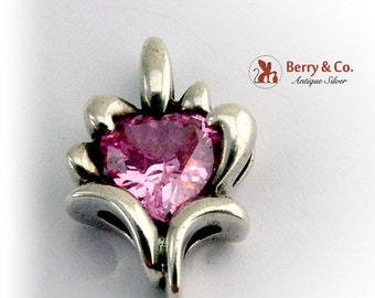 SaLe! sALe! Heart Pendant Pink Stone Sterling Silver