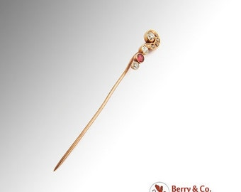 SaLe! sALe! Old European Cut Diamonds Ruby Question Mark Stick Pin