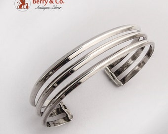 Mexican Three Strand Cuff Bracelet Sterling Silver