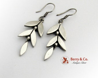 Mexican Floral Dangle Earrings Sterling Silver