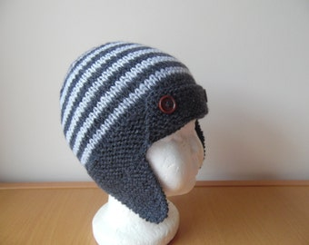 hand knitted baby boys striped aviator/trapper style hat