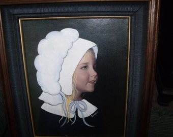 Amish painting by me on vintage frame from early 70's